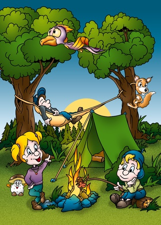 roasting: Camping - Cartoon Background Illustration, Bitmap Stock Photo