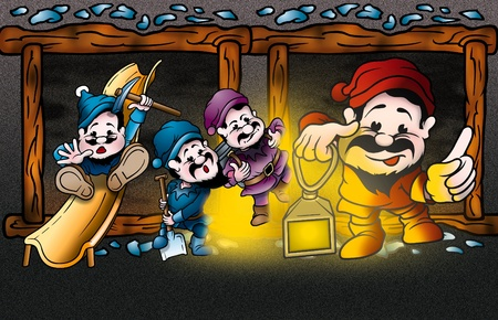 Dwarfs - Cartoon Background Illustration, Bitmap illustration