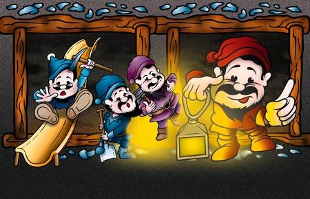 bitmap: Dwarfs - Cartoon Background Illustration, Bitmap Stock Photo