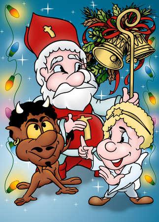 bitmap: Christmas Cartoon - Holiday Background Illustration, Bitmap