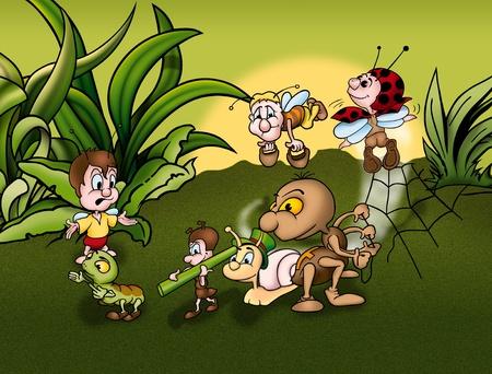 hormiga hoja: Insectos mundial - ilustraci�n de fondo de dibujos animados, mapa de bits