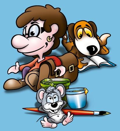 bitmap: School - Cartoon Background Illustration, Bitmap Stock Photo