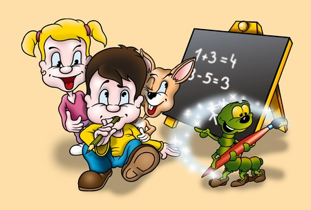 Education - Cartoon Background Illustration, Bitmap illustration