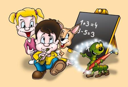 Education - Cartoon Background Illustration, Bitmap Stock Illustration - 9687095