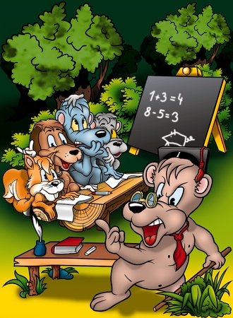 schooldesk: Animal Classroom - Cartoon Background Illustration, Bitmap