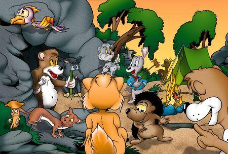 pintura rupestre: Animales Camping - ilustraci�n de fondo de dibujos animados, mapa de bits Foto de archivo