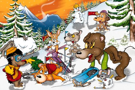 Animals in Winter - Cartoon Background Illustration, Bitmap illustration