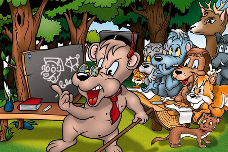 schooldesk: Animal School - Cartoon Background Illustration, Bitmap Stock Photo