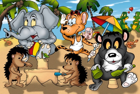 Animals on the Beach - Cartoon Illustration, Bitmap Stock Illustration - 9788621