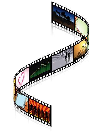 movie film: Colored Filmstrip - detailed illustration, vector