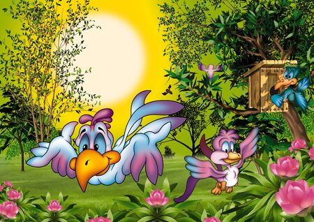 Birds World - Cartoon Background Illustration, Bitmap illustration