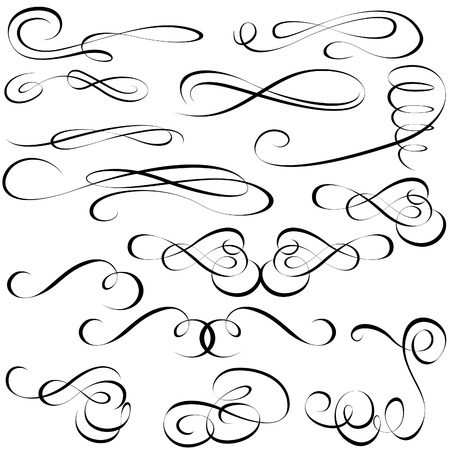 Calligraphic elements - black design elements 矢量图像