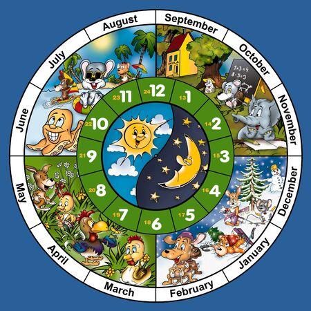 caricaturas de animales: Reloj cara - ilustraci�n de dibujos animados, mapa de bits Foto de archivo