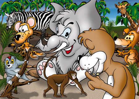 bitmap: Cartoon Safari - Colored Background Illustration, Bitmap