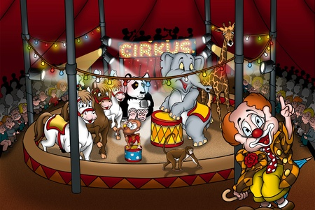 Circus Show - Cartoon Illustration, Bitmap Stock Illustration - 9788640