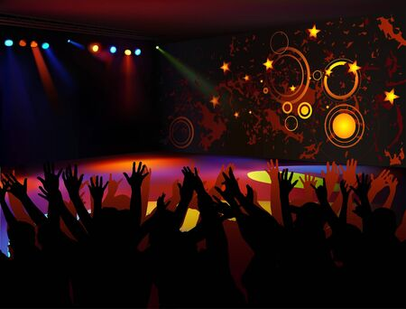 Dance Party - colored background illustration Vector