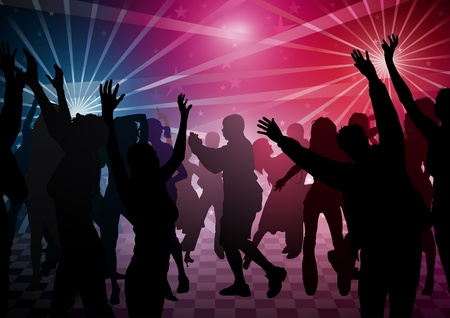disco lights: Disco Dance - colored background illustration