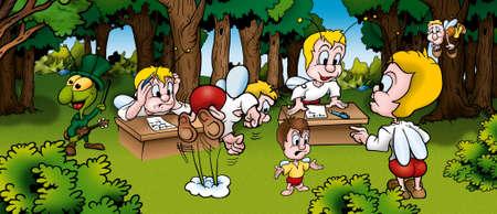 Bugs in School - Cartoon Background Illustration, Bitmap Stock Illustration - 9788688
