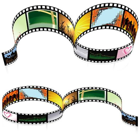 movie film: Colored Filmstrip - detailed illustration