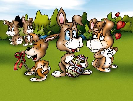 Rabbits and Easter - Cartoon Background Illustration, Bitmap illustration