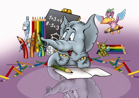 Elephant in School - Cartoon Background Illustration, Bitmap Stock Illustration - 9790402
