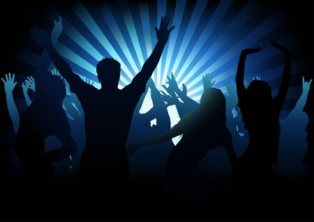 silhouettes: Dance Party - colored background illustration, vector