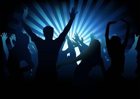 bailarines silueta: Dance Party - ilustraci�n de fondo de color, vector