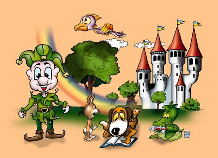 Fairy Tale - Cartoon Background Illustration, Bitmap Stock Illustration - 9897244
