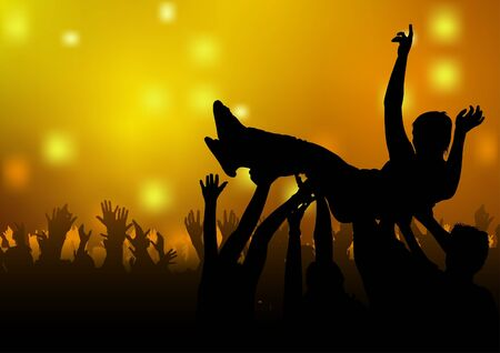 Dance Party - colored background illustration, vector Stock Vector - 9897247