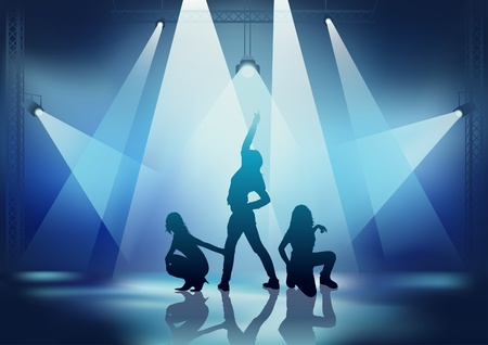 Dance Party - Showgirls and background illustration, vector Vector