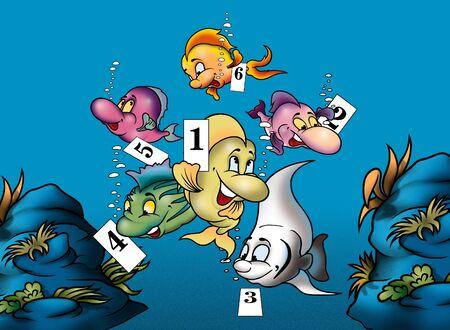bitmap: Fish and Numbers - Cartoon Background Illustration, Bitmap Stock Photo