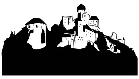 stronghold: Castle - black and white illustration