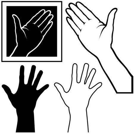Hand - black and white illustration  Vector
