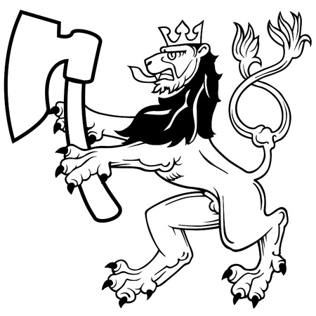 Heraldic Lion with Axe - black and white illustration