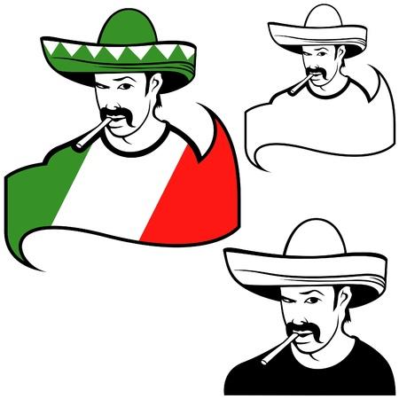 sombrero de charro: Hombre mexicano - ilustración en color