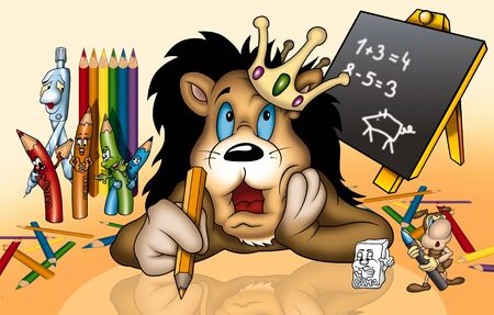 bitmaps: Lion in School - Cartoon Illustration, Bitmap