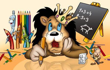 bitmap: Lion in School - Cartoon Illustration, Bitmap