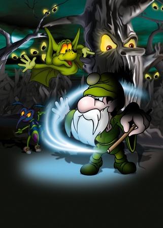 dreadful: Magic Forest - Cartoon Background Illustration, Bitmap