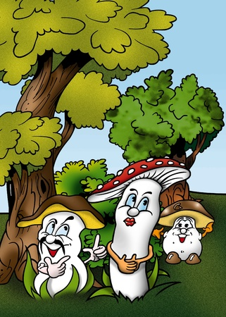 bitmap: Mushrooms - Cartoon Illustration, Bitmap