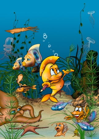 Ocean Life - Cartoon Background Illustration, Bitmap illustration