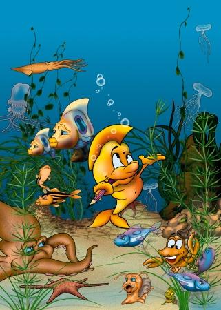 bitmap: Ocean Life - Cartoon Background Illustration, Bitmap Stock Photo