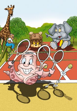 bitmaps: Octopus Tennis Player - Cartoon Illustration, Bitmap