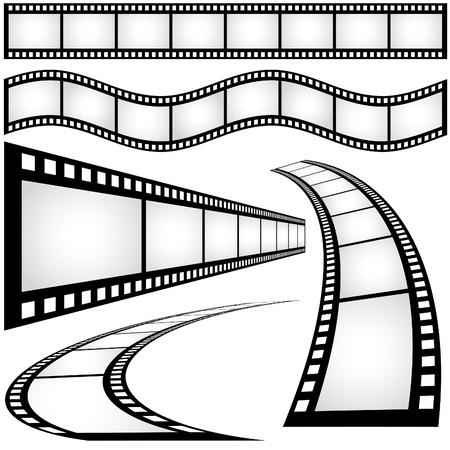Ilustración de la tira de película - blanco y negro, Vector