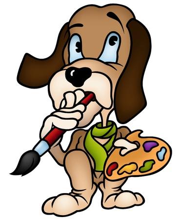caricaturas de animales: Pintor perro - ilustración de dibujos animados de color, vector