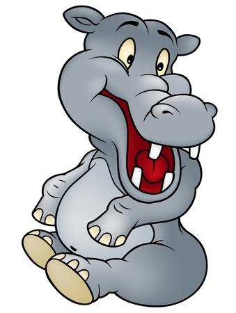Sitting Hippo - Cheerful Cartoon Illustration, Vector Stock Vector - 10399254