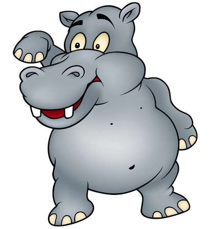 hipopotamo caricatura: Hipop�tamo agitando adi�s - color de dibujos animados de ilustraci�n vectorial