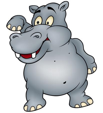 hippo: Hippo waving goodbye - Colored Cartoon Illustration, Vector