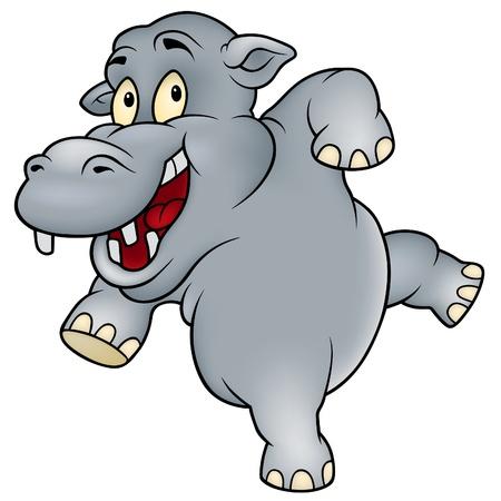 hipopotamo caricatura: Happy Hippo - ilustración de dibujos animados de color, Vector