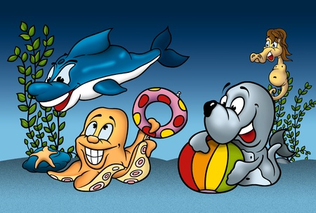 bitmaps: Sea Life - Cartoon Background Illustration, Bitmap