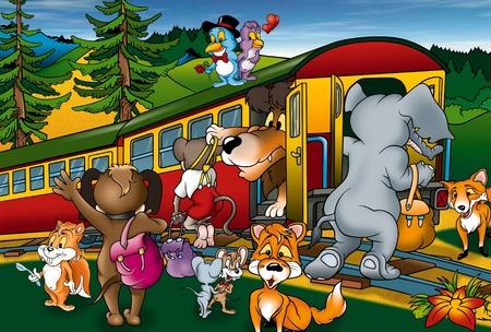 mountain lions: Train Trip - Cartoon Background Illustration, Bitmap